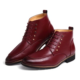 Rivets Round Toe Lace-Up Boots for Men