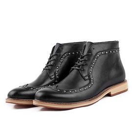 Studded Square Heel Men's Boots