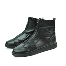 Front Zipper Mid-Cut Casual Boots