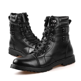 British Buckles Round Toe Lace-Up Boots