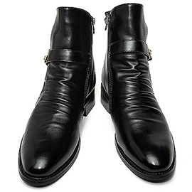 Black Studded Round Toe Men's Boots