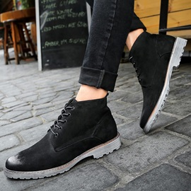 Faux Leather Round Toe Lace-Up Booties for Men
