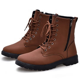 Solid Color Round Toe Martin Boots