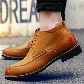 PU Round Toe Lace-Up Men's Boots