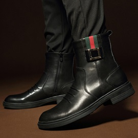 Elegant Plain Toe Zippered Men's Boots