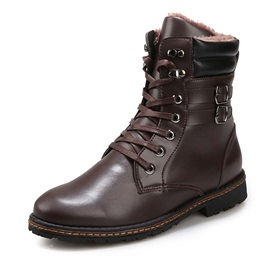 PU Round-Toe Lace-Up Martin Boots