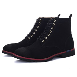 PU Thread Lace-Up Front Round-Toe Martin Boots