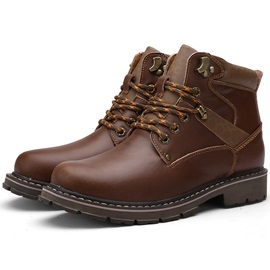 PU Plain Round Toe Boots for Men
