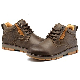 Western Lace-Up Front PU Plain Martin Boots