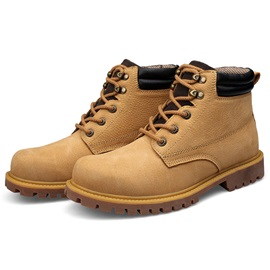 PU Color Plain Round Toe Men's Boots