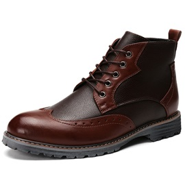 PU Color Block Round Toe Men's Boots
