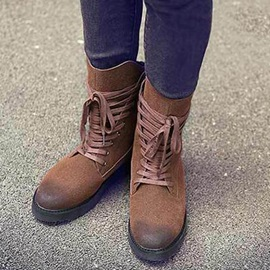Nubuck Leather Contrast Toe Lace-Up Men's Boots