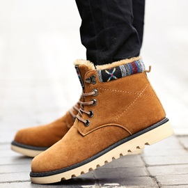 Nubuck Leather Patchwork Boots for Men