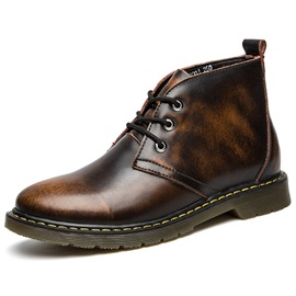 PU Vintage Plain Round Toe Men's Boots