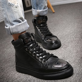 PU Sequin Lace-Up Round Toe Boots for Men