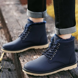 PU Plain Round Toe Cheap Men's Winter Boots