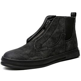 PU Zipper Round Toe Men's Boots