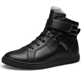 PU Black Velcro Plain Men's Boots