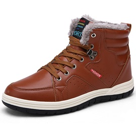 Chic PU Plain Round Toe Men's Winter Boots