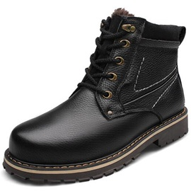 PU High Quality Plain Lace-Up Round Toe Men's Nice Boots