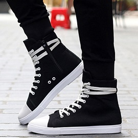 Canvas Plain Lace-Up Men's Boots