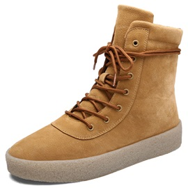 PU Solid Color Plain Men's Boots Sale