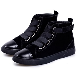PU Black Plain Velcro Round Toe Men's Boots