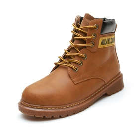 PU Color Block Letter Sewing Men's Martin Boots