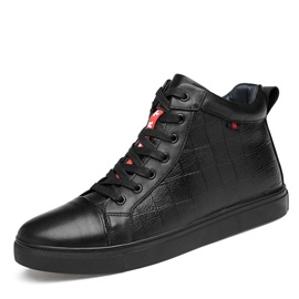 PU Lace-Up Plaid High-Cut Upper Men's Shoes