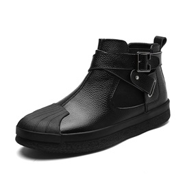 PU Zipper High-Cut Upper Buckle Men's Shoes
