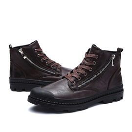 PU Lace-Up High-Cut Upper Vintage Men's Boots