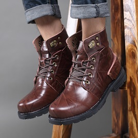 PU Lace-Up Front Men's Martin Boots