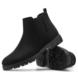 PU Plain Elastic Round Toe Men's Boots
