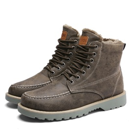Plain Round Toe Lace-Up Men's Martin Boots