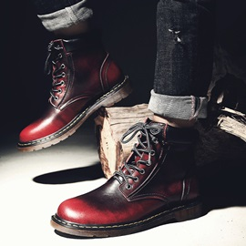 PU Round Toe Lace-Up Men's Martin Boots
