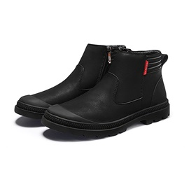 Plain Round Toe Side Zipper Men's Work Boots