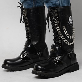 Chain Square Toe Lace-Up Front Men's Martin Boots