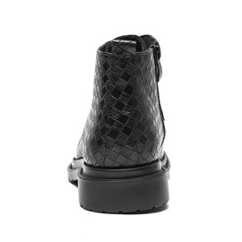 PU Pointed Toe Side Zipper Plaid Men's Boots
