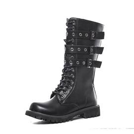 PU Rivet Round Toe Side Zipper Men's Boots