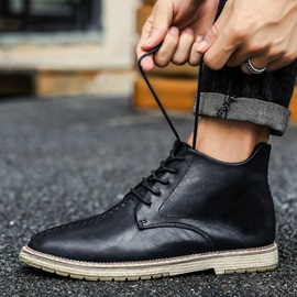 Vintage High Top Lace-Up Round Toe Men's Boots