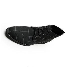 Pointed Toe Plaid Lace-Up Front Canvas Men's Boots