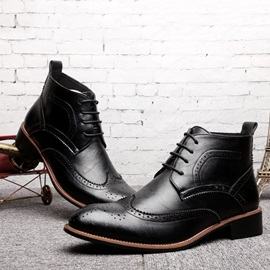 Pointed Toe Lace-Up Front PU Men's Boots