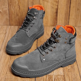 Color Block Lace-Up Front Round Toe PU Men's Boots