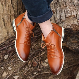 Patchwork Lace-Up Front Round Toe PU Men's Boots