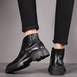 Round Toe Lace-Up Front PU Men's Boots