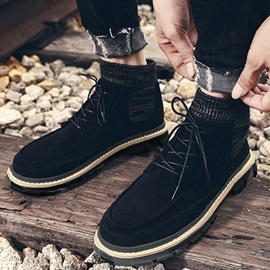 Lace-Up Front Color Block Round Toe Men's Boots