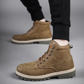 Round Toe Color Block Lace-Up Front PU Men's Martin Boots