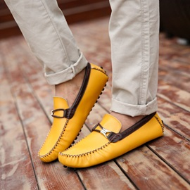 Simple PU Solid Color Quilted Strappy Men's Shoes