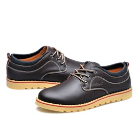 Solid Color Plain-Toe Lace-Up Derbies