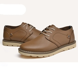 Patetn Leather Solid Color Lace-Up Men's Shoes